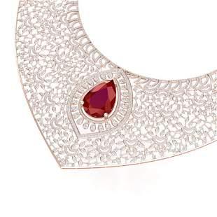 63.93 ctw Ruby & VS Diamond Necklace 18K Rose Gold -