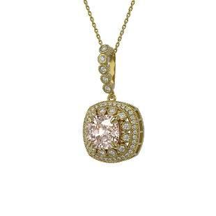 5.83 ctw Morganite & Diamond Victorian Necklace 14K