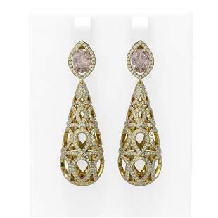 6.72 ctw Morganite & Diamond Earrings 18K Yellow Gold -