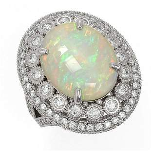 9.48 ctw Certified Opal & Diamond Victorian Ring 14K
