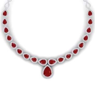 51.41 ctw Ruby & VS Diamond Necklace 18K White Gold -