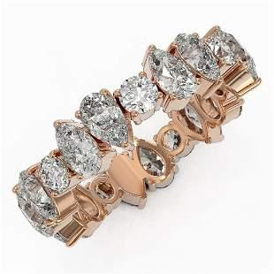 4.55 ctw Pear Cut Diamond Eternity Ring 18K Rose Gold -