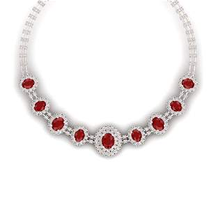 45.69 ctw Ruby & VS Diamond Necklace 18K Rose Gold -