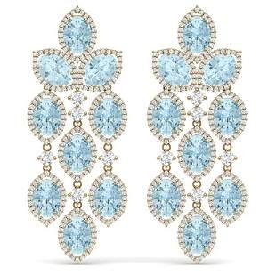 23.76 ctw Sky Topaz & VS Diamond Earrings 18K Yellow