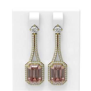 11.01 ctw Morganite & Diamond Earrings 18K Yellow Gold