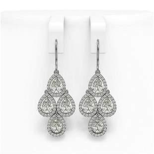 5.85 ctw Pear Cut Diamond Micro Pave Earrings 18K White