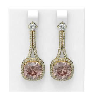 10.98 ctw Morganite & Diamond Earrings 18K Yellow Gold