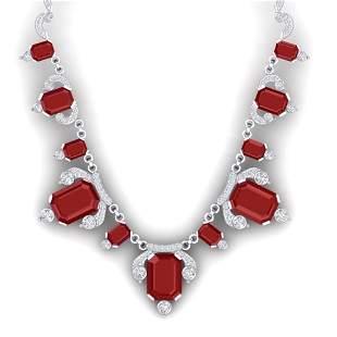 75.21 ctw Ruby & VS Diamond Necklace 18K White Gold -