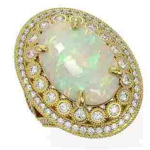 13.57 ctw Certified Opal & Diamond Victorian Ring 14K