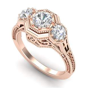 1.05 ctw VS/SI Diamond Solitaire Art Deco 3 Stone Ring