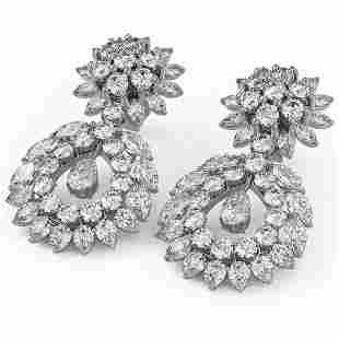 15.56 ctw Pear & Marquise Cut Diamond Earrings 18K