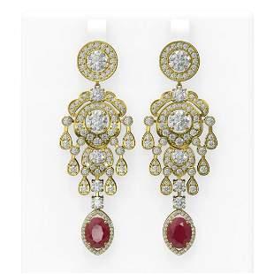 14.52 ctw Ruby & Diamond Earrings 18K Yellow Gold -