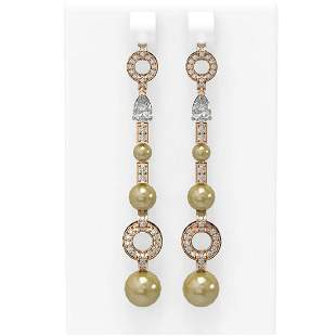 2.78 ctw Diamond & Pearl Earrings 18K Rose Gold -