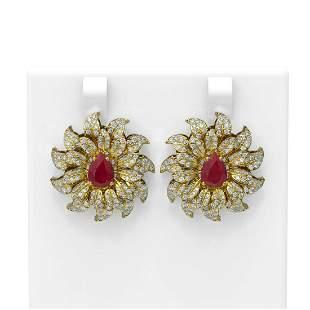 7.07 ctw Ruby & Diamond Earrings 18K Yellow Gold -