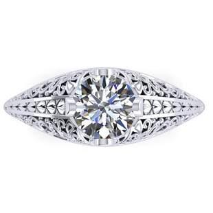 1 ctw Solitaire Certified VS/SI Diamond Ring Art Deco