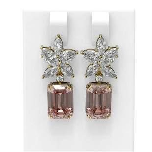 13.13 ctw Morganite & Diamond Earrings 18K Yellow Gold