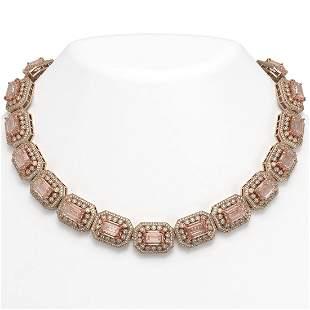117.15 ctw Morganite & Diamond Victorian Necklace 14K