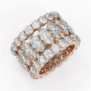 14.13 ctw Marquise Cut Diamond Eternity Ring 18K Rose