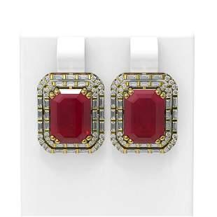 13.25 ctw Ruby & Diamond Earrings 18K Yellow Gold -