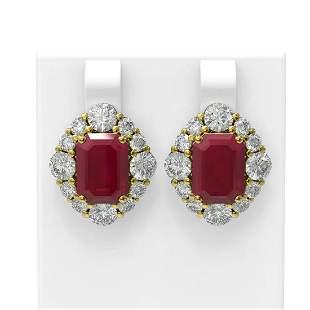 16.56 ctw Ruby & Diamond Earrings 18K Yellow Gold -