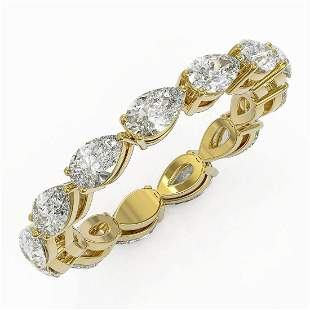 3.38 ctw Pear Cut Diamond Eternity Ring 18K Yellow Gold
