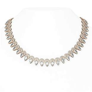 51 ctw Marquise Diamond Necklace 18K Rose Gold -