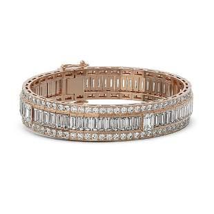 35 ctw Emerald Cut Diamond Designer Bracelet 18K Rose