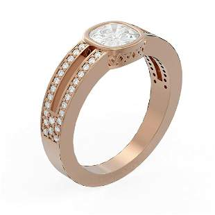 1.38 ctw Diamond Ring 18K Rose Gold - REF-448H5R