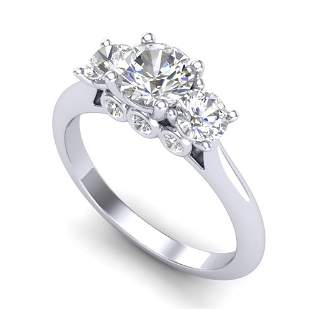 1.5 ctw VS/SI Diamond Solitaire Art Deco 3 Stone Ring