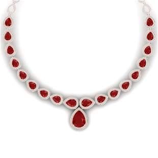 51.41 ctw Ruby & VS Diamond Necklace 18K Rose Gold -
