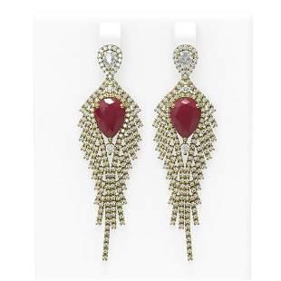 11.22 ctw Ruby & Diamond Earrings 18K Yellow Gold -
