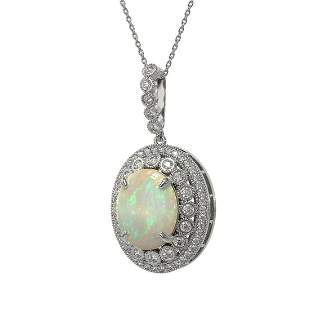 9.38 ctw Certified Opal & Diamond Victorian Necklace
