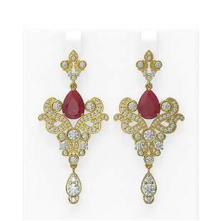 11.5 ctw Ruby & Diamond Earrings 18K Yellow Gold -