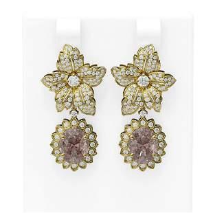 7.79 ctw Morganite & Diamond Earrings 18K Yellow Gold -