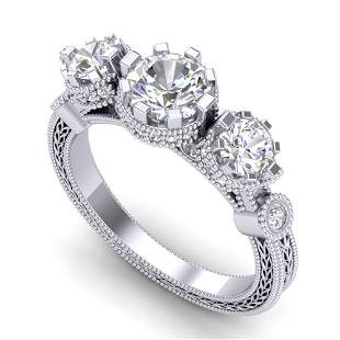 1.75 ctw VS/SI Diamond Solitaire Art Deco 3 Stone Ring