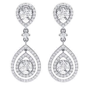 3.53 ctw Designer VS/SI Diamond Earrings 18K White Gold