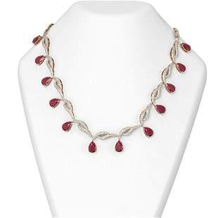 44.99 ctw Ruby & Diamond Necklace 18K Rose Gold -