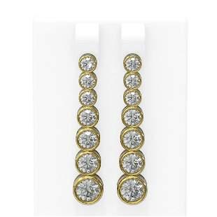 3.38 ctw Diamond Earrings 18K Yellow Gold - REF-445F3M