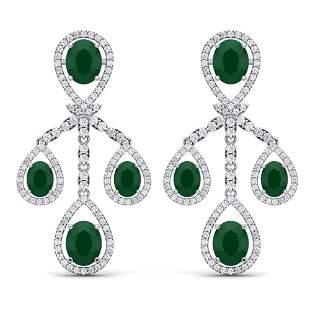 25.08 ctw Emerald & VS Diamond Earrings 18K White Gold