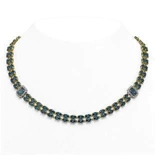 61.05 ctw London Topaz & Diamond Necklace 14K Yellow