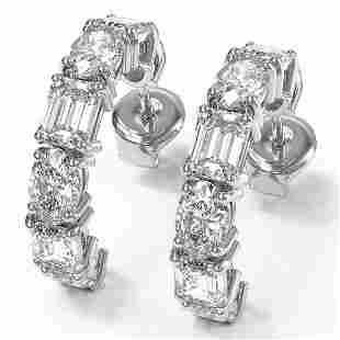 7.25 ctw Emerald & Oval Cut Diamond Earrings 18K White