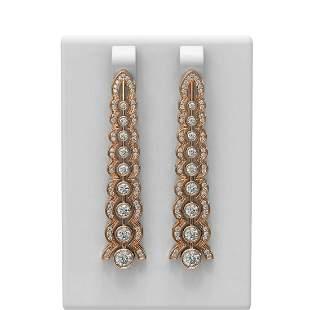 2.26 ctw Diamond Earrings 18K Rose Gold - REF-296R8K