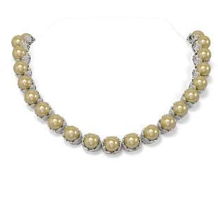 30 ctw Diamond & Pearl Necklace 18K White Gold -
