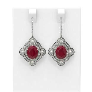 9.96 ctw Ruby & Diamond Earrings 18K White Gold -