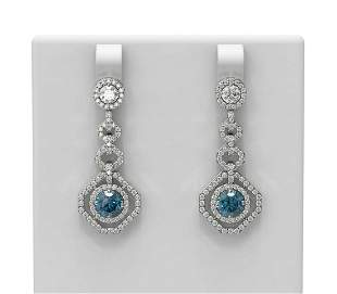 3.55 ctw Intense Blue Diamond Earrings 18K White Gold -