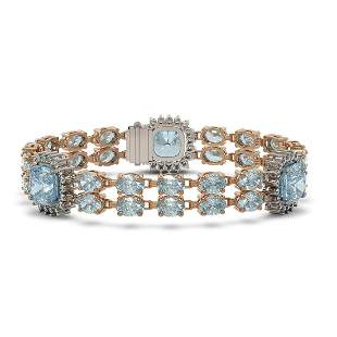 29.27 ctw Aquamarine & Diamond Bracelet 14K Rose Gold -