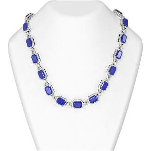 121.08 ctw Sapphire & Diamond Necklace 18K White Gold -