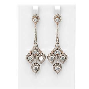 7.61 ctw Diamond Earrings 18K Rose Gold - REF-851K9Y