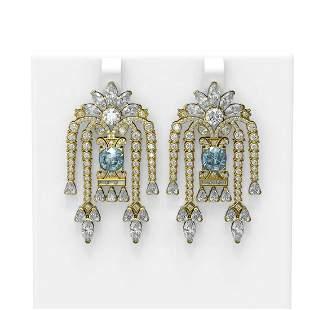 15.53 ctw Aquamarine & Diamond Earrings 18K Yellow Gold