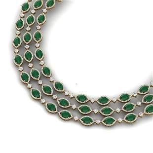 85.81 ctw Emerald & VS Diamond Necklace 18K Yellow Gold